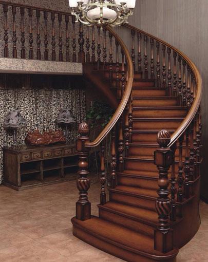 欧式酒店实木楼梯
