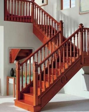 旋转式阁楼实木楼梯